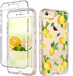 GUAGUA iPhone SE 2020 Case iPhone 6 Case iPhone 6s Case Lemon Clear Fruits for Girls Women 3 in 1 Hybrid Hard PC Soft TPU Cover Shockproof Protective Phone Cases for iPhone SE 2020/6/6s Transparent