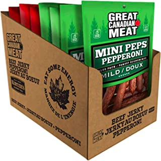 Mixed Flavour Mild & Hot Mini Peps, Pepperoni Sticks Bulk Box, Pepperettes Bundle 10 x 225g Bags by Great Canadian Meat, M...
