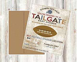 Vintage Retro Tailgate Football Baby Shower Invitations Decor and Party Games (Tailgate Invitations)