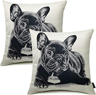 Booque Valley Bulldog Pillow Cover, Set of 2 18 x 18 Inch Animal Pillows, Black Pitbull Dog Printing on Netural Poly Linen...