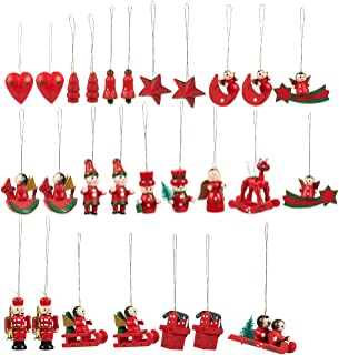 Juvale 27-Pack of Christmas Tree Decorations - Hanging Wooden Decorations, Ornate Crafted Christmas Ornaments, Festive Embellishments, Assorted Designs