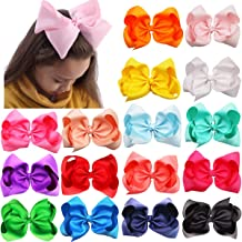 16Pcs 8 Inch Hair Bows Girls Large Big Boutique Grosgrain Ribbon Hair Bows Alligator Hair Clips Hair Accessories For Baby Girls Toddlers Kids Children Teens