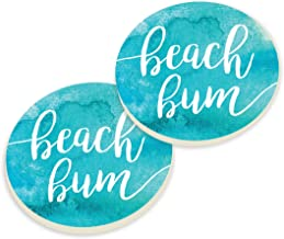 3 x 3 Absorbent Ceramic Coastal Sand Car Coaster Pack of 2 3 x 3 Blue CSTP0121