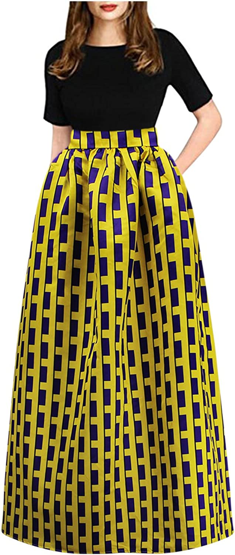 Aibearty Women Elastic Print High Waist Long Maxi Skirts with Pocket