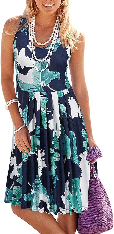 Bohemian Dress for Women,Maxi Dress for Women Casual Gradient Sunflower Printed V Neck Sleeveless Summer Cami Dress