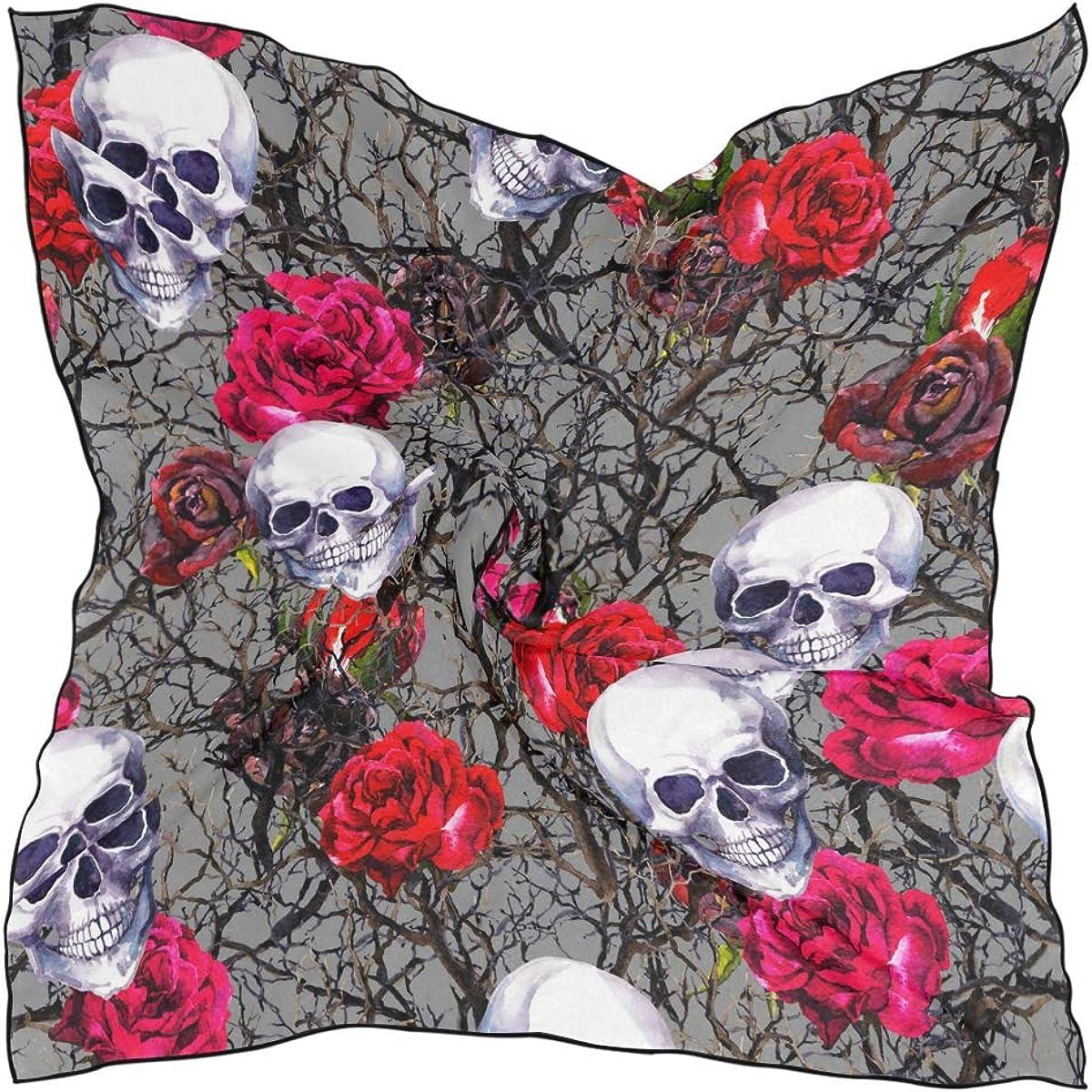 XLING Fashion Square Scarf Vintage Floral Flower Rose Skull Lightweight Sunscreen Scarves Muffler Hair Wrap Headscarf Neckerchief for Women Men
