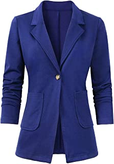 Women's Casual Blazer Long Sleeve Solid Color Button Slim Fit Office Jacket Suit for Women S-XXL