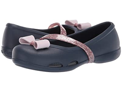 Crocs Kids Lina Charm Flat (Toddler/Little Kid) (Navy) Girls Shoes