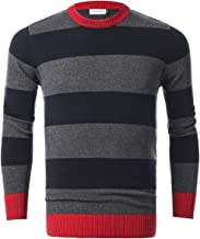 Chain Stitch Men's Long Sleeve Striped Pullover Crew Neck Sweater