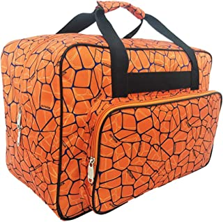 Sewing Machine Carrying Case Tote Bag,Universal Nylon Carry Bag, Universal Padded Storage Cover Carrying Case with Pockets and Handles (Orange)