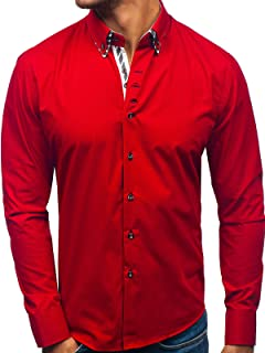 BOLF Camicia Manica Tinta Unita Lunga Aderente Basic Casual Uomo 2B2 Slim Fit