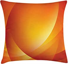 Ambesonne Orange Throw Pillow Cushion Cover, Colorful Smooth Twist Lines Sun Abstraction Energy Flow Waves Curves Art, Decorative Square Accent Pillow Case, 18