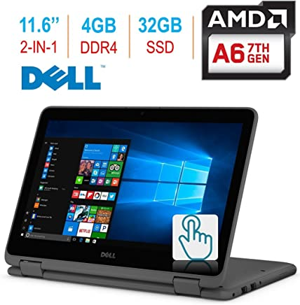 "2018 Dell Inspiron 3000 11.6"" 2-in-1 Touchscreen Laptop/Tablet PC, 7th Gen AMD A6-9220e 2.5GHz Processor, 4GB 2400MHz DDR4, 32GB SSD, Bluetooth, WiFi, MaxxAudio, Windows 10-Grey"