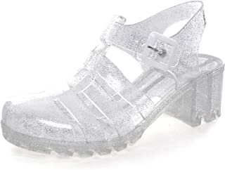 Women Crystal Jelly Sandals Summer Women Rain Boots Retro Slingback Strappy Heels/Flat Sandals for Women