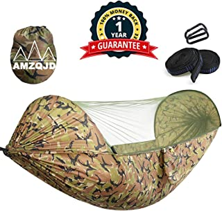 AMZQJD Camping Hammock with Mosquito Net, Portable Nylon Double Hammock with Tree Straps, Carabiners and Storage Bag for Indoor, Outdoor, Hiking, Travel, Party, Beach(Hold Up to 660 lbs)