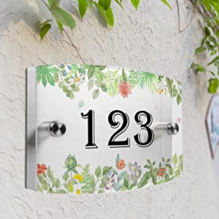 JEXICASE Customized Personalised Door Plate, Hand-Painted Flowers Pattern Acrylic Modern House Arc Frosted Sign Door Number Name Road Plaque-Hand-Painted Flowers Layout 3