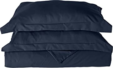 Elegant Comfort 1500 Thread Count Egyptian Quality Wrinkle and Fade Resistant 3-Piece Duvet Cover Set, Full/Queen, Navy