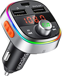 VicTsing Bluetooth FM Transmitter, USB C PD & Enhanced Bass Car Bluetooth Adapter/Radio Transmitter with 7 Color LED Backlit, 3 USB Ports, Music Player Support U Disk/TF Card