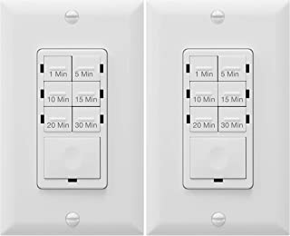 In Wall Timer Switch Enerlites, Fan Switch Timer, Countdown Timer Switch, Light Timer Switch, Bathroom Timer Switch, 1 - 30 min, Night Light LED Indicator, Neutral Wire Required HET06A ,White, 2-Pack