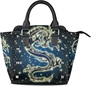 MASSIKOA Celestial Chinese Dragon The Night Sky Handbags Women's PU Leather Top-Handle Shoulder Bags