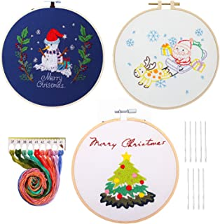 HaiMay 3 Sets Embroidery Starter Cross Stitch Kit with 3 Pieces Christmas Pattern, Bamboo Embroidery Hoops, Color Threads and Tools Kit
