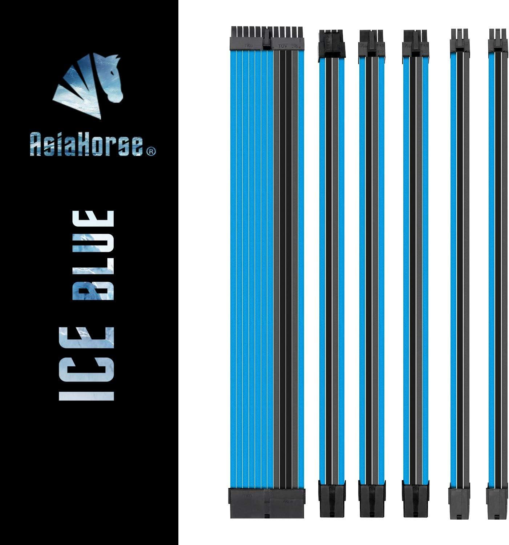 Asiahorse Customization Mod Sleeve Extension Power Supply Cable Kit 18AWG ATX/EPS/8-pin PCI-E/6-pin PCI-E (ICE BLUEMix)