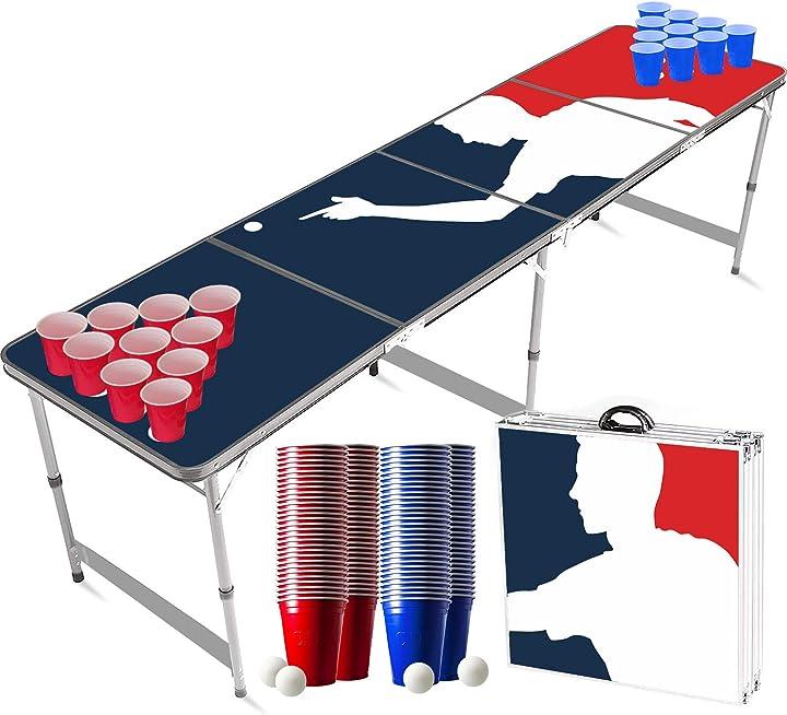 Set da tavolo da beer pong ufficiale player | 1 tavolo + 120 coppe (60 blu & 60 rosso) + 6 palle |kit completo B07W7CP2YF