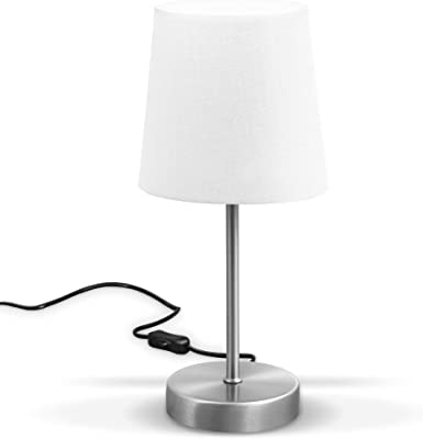 B.K.Licht lampe de table design moderne, Lampe de Chevet tissu blanc, pied métal nickel mat, pour ampoule LED E14, IP20