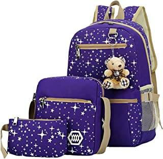 ACMEDE 3Pcs Sac à Dos d'Ecole Cartable College Pour Enfant Fille Sacs à Bandoulière Scolaire Backpack de Voyages