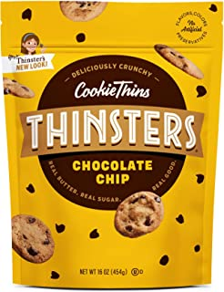 Thinsters Cookies Chocolate Chip, 16 Oz (Pack Of 2), Non GMO, Peanut Free