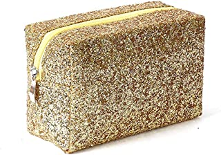 Brishow Accessories Makeup Bag Sequins Rainbow Travel Cosmetic Bling Shiny Toiletry Pencil Bags Purses Foldable Waterproof Case for Women and Girls gold