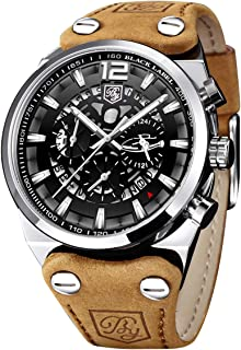 BY BENYAR - Chronograph Quartz Wrist Watch for Men with Big Black Skeleton Dial Waterproof Army Watch
