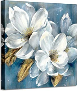 """Abstract Floral Artwork Canvas Painting: White Flower Bloom Painting Graphic Picture Wall Art for Living Room (24"""" x 24"""" x 1 Panel)"""