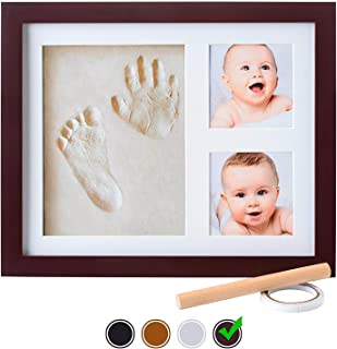 Baby Handprint Kit  NO Mold  Baby Picture Frame, Baby Footprint kit, Perfect for Baby Boy Gifts,Top Baby Girl Gifts, Baby Shower Gifts, Newborn Baby Keepsake Frames (Standard, Espresso)
