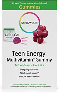 Rainbow Light - Teen Energy Multivitamin Gummy - Provides Antioxidants and Probiotics, Supports Energy, Mood and Stress-Re...