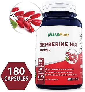Berberine HCI 900mg 180caps (Non-GMO & Gluten Free) Supports Healthy Blood Sugar Levels & Metabolism, Improves Immunity & Digestion