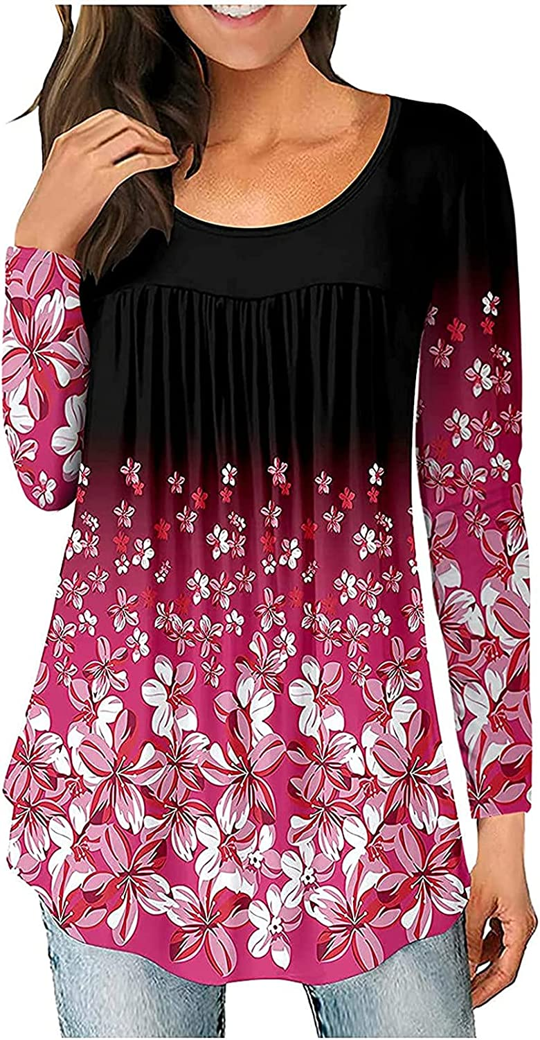 Women Fall Tops Casual Long Sleeve O Neck Tunic Tops Casual Pullover Pleated Shirts Fashion Floral Blouse