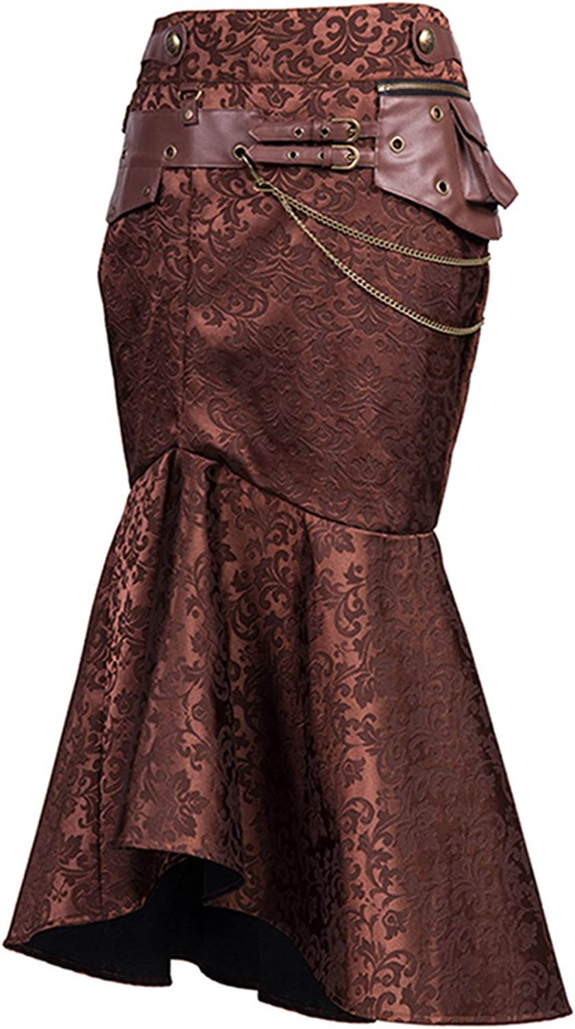 Charmian Vintage Goth Steampunk Skirts for Women Brown Pouch Chain Sexy Slim Evening Party Long Fishtail Skirt