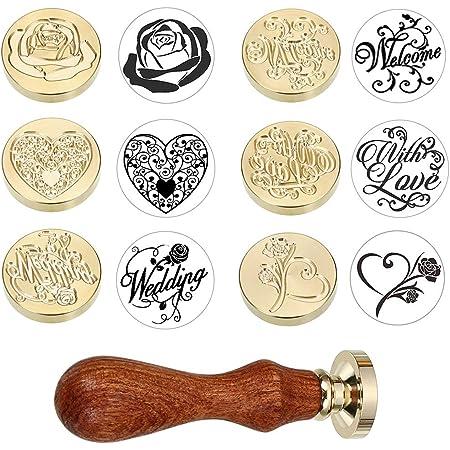 Sumnacon 6pcs sceaux tampons à Cachet Tampon de Cire Timbre à cacheter et 1 poignée en Bois pour Carte,Lettre,Invitation,boîte (thème de Mariage)