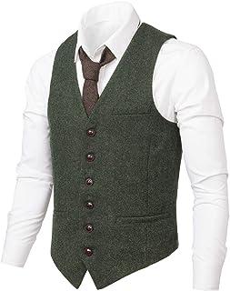 ad03b265319 VOBOOM Men s Slim Fit Herringbone Tweed Suits Vest Premium Wool Blend  Waistcoat
