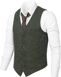 Men's Slim Fit Herringbone Tweed Suits Vest Premium Wool Blend Waistcoat