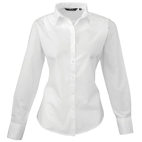 50e18c2e435 Premier Womens Ladies Poplin Long Sleeve Blouse   Plain Work Shirt (10) (