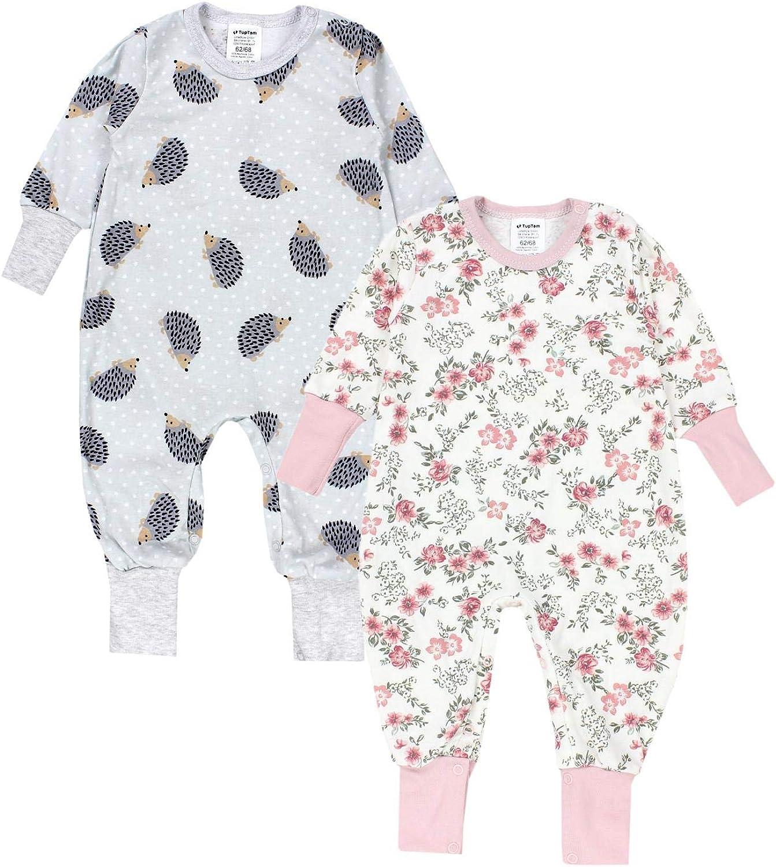 TupTam Baby M/ädchen Schlafstrampler Gemustert 2er Pack