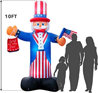 Holidayana Giant 10 Ft. Tall 4th of July Inflatable Uncle Sam, Independence Day Inflatable Featuring Lighted Interior, Airblown Inflatable 4th of July Decoration with Built in Fan and Anchor Ropes