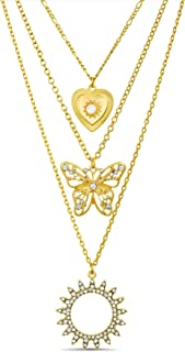 Steve Madden Rhinestone Circle Heart Butterfly Yellow 3 Row Layered Chain Necklace for Women