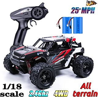 Remote Control Cars, High Speed 25MPH RC Drift Cars with 2 Chargeable Batteries, 1/18 Scale 2.4Ghz 4WD Remote Control Monster Truck, Off Road RC Rock Crawler Toy RC Cars for Kids & Adults