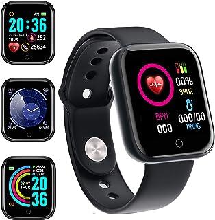 Smartwatch,Reloj Inteligente Impermeable IP65 con Monitor de Sueño Pulsómetros Cronómetros,Calorías Podómetro,Pulsera de A...