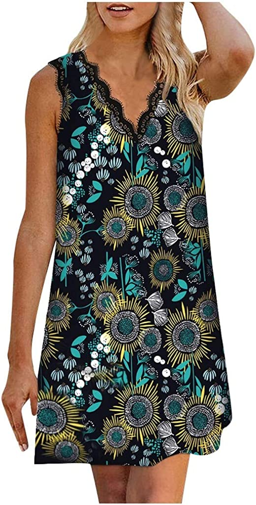 BEIGAIXLSBZ Women 2020 Summer Casual Mini Dress Strap Down V Neck Lace Printed Sleeveless Beach Sundress Dresses