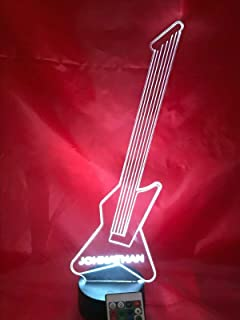 Guitar Light Up Lamp LED Personalized Name Night Light Engraved Guitars Music Instrument Table Lamp, Our Newest Feature - It's Wow, with Remote, 16 Color Options, Dimmer, Free Engraved, Great Gift