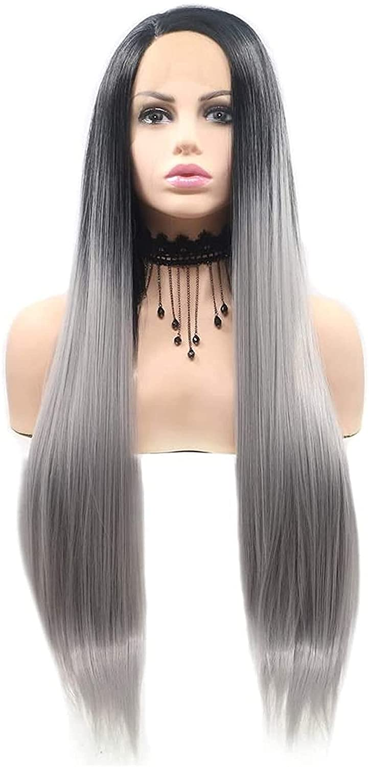 Cosplay Black - Linen Gray Free Shipping Cheap Bargain Gift Special Campaign Gradient Handmade Wig Lace E Ladies